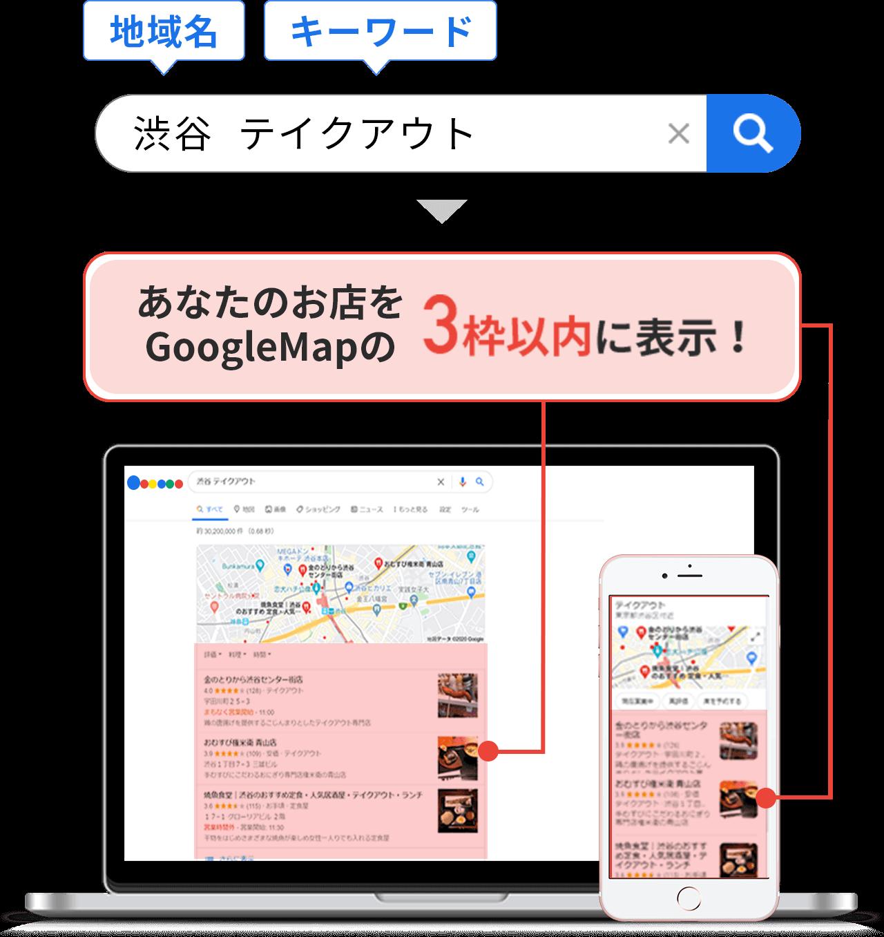 あなたのお店をGoogleMapの3枠以内に表示!